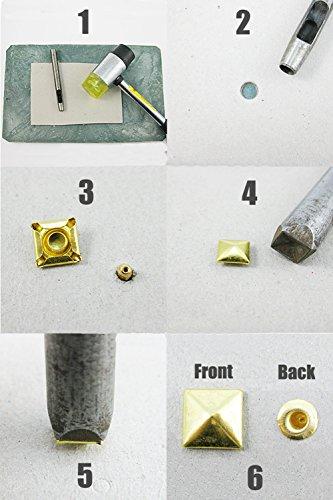 aan Gun 100 Studs je Mix Tool 1pc leer 9mm Press met drukknoppen stuks Color Metal punkstijl voor Black Pas qqWg8EPAr