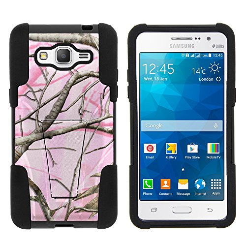 Galaxy Grand Prime Case, Full Body Fusion STRIKE Impact Kickstand Case with Exclusive Illustrations for Samsung Galaxy Grand Prime SM-G530H, SM-G530F, SM-G530AZ (Cricket) from MINITURTLE   Includes Clear Screen Protector and Stylus Pen - Pink Hunter Camouflage