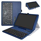 at&T Primetime Tablet Bluetooth Keyboard Case,Mama Mouth Slim Stand PU Leather Cover with Romovable Bluetooth Keyboard for 10'' at&T Primetime Tablet,Blue