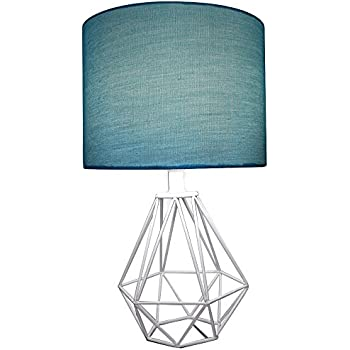 Celeste 18 Table Lamp Diamond Wire Geometric Metal Base With Teal Fabric Drum Shade