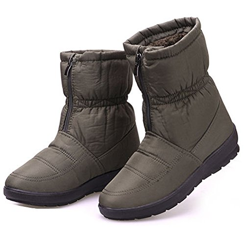 Flat Women's Ankle Outdoor Zip Green Short Boots Boots Fur Ladies Boots Warm Eagsouni Snow Shoes Winter q7vCvw