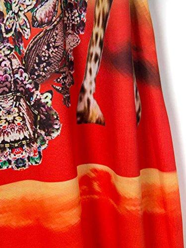 Yuncai Mujer Verano Boho Estilo Impreso Larga Falda Naranja