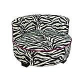 ORE International Round Zebra Print Upholstered Pet Sofa Bed, 15.5″
