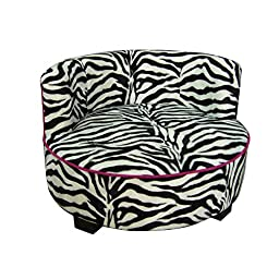 Ore International Round Zebra Print Upholstered Pet Sofa Bed, 15.5\