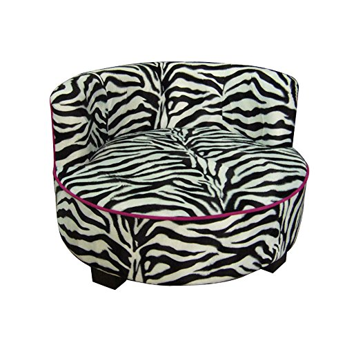 Ore International Round Zebra Print Upholstered Pet Sofa Bed, 15.5