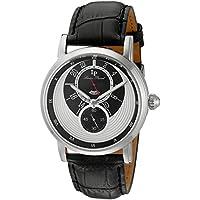 Lucien Piccard Men's 'Santorini' Quartz Stainless Steel and Leather Watch, Color:Black (Model: LP-40043-02S)