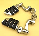 XKH Group Motorcycle Chrome Adjustable Dually Highway P-Clamps Large Footpeg Footrest For Harley Davidson Sportster 883 1200 Street Bob Softail CVO Equipped 1 inch (1'') 25mm Front Engine Guard