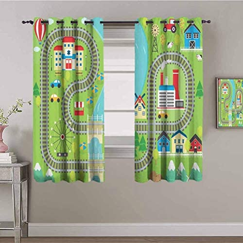 Kids Activity Black Out Window Curtain 2 Panel Country Community Themed Activity Filled Town Amusement Park Farm Hospital Protective Furniture Multicolor W84 x L84 Inch