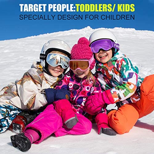findway Kids Ski Goggles, Kids Snow Snowboard Goggles for Boys Girls Toddler Age 3-8 4-7,Helmet Compatible,Anti Fog Double-Layer Lenses,100% UV400 Protection,Non-Slip Strap