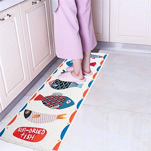 MF Non Skid Kitchen Floor Mat Hallway Runner Rug Comfort Mat Entrance Doormat Asorbent Fish 18''X47''