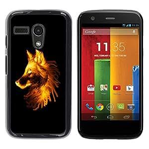 Be Good Phone Accessory // Dura Cáscara cubierta Protectora Caso Carcasa Funda de Protección para Motorola Moto G 1 1ST Gen I X1032 // Flaming Wolf