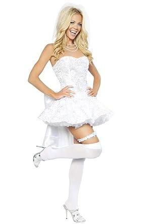 32a85b80ce8 Amazon.com  Sexy White Wedding Girl Halloween Costume  Clothing