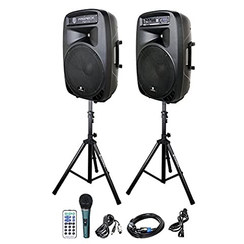 PRORECK Portable 15-Inch 2000 Watt 2-Way Powered PA Speaker System Combo Set (15 Inch Party Speakers)