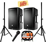 JBL EON610 Portable 10' 2-Way Multipurpose Self-Powered Sound Reinforcement Bundle with 2 Speakers, Speaker Stands, 2 XLR Cables, Microphone, and Austin Bazaar Polishing Cloth