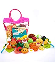 Sotodik 32PCS Cutting Toys Pretend Food Fruits Vegetable Playset Educational Learning Toy Kitchen Play Food For Boy Girl Kid With Handbag packing (Pink)