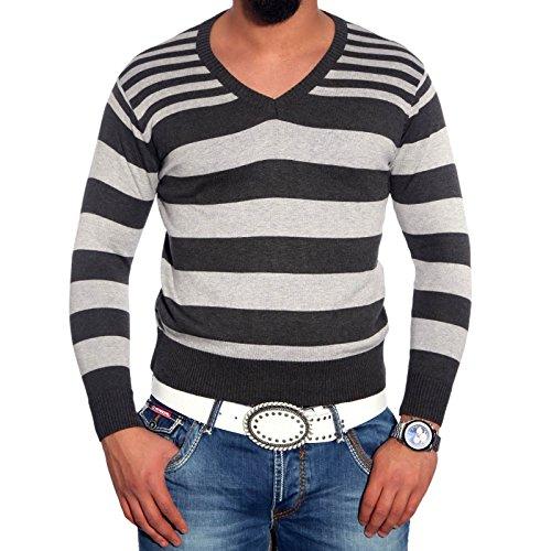 Herrenpullover Pulli Sweatshirt Strickjacke Sweater Kontrast Langarmshirt Herren, Größe:XXL, Farbe:Anthrazit