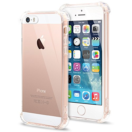 Basse Case Compatible iPhone 5 /5S, Basse Crystal Clear Shock-Absorption, Bumper Cover Anti-Scratch Case for Apple iPhone 5, 5S, SE (4.7 inch) – Clear