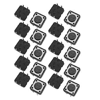 uxcell 20 Pcs 12x12x4.3mm PCB Momentary Tact Push Button Switch 4 Pin DIP