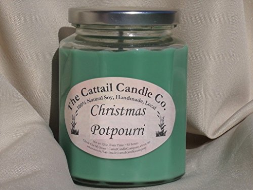 Cattail Candle - Christmas Potpourri - 100% Soy Candle, 12 fl oz