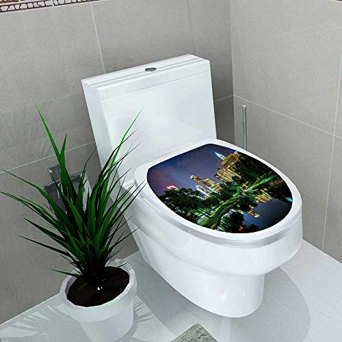 Decoration Bathroom Toilet Cover Sticker The Uptown Skyline a Lake at MarshPark at Night Restroom Wall Decals W14 x ()