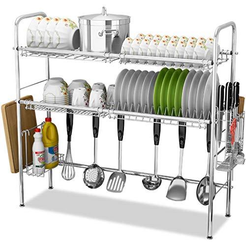 - Stainless Steel Sink Drain Rack Storage Shelf, Dish Rack Cutting Board Knife Chopstick Holder Kitchen Shelves, Multi-Style Optional (Color : Silver, Design : B-Single slo)