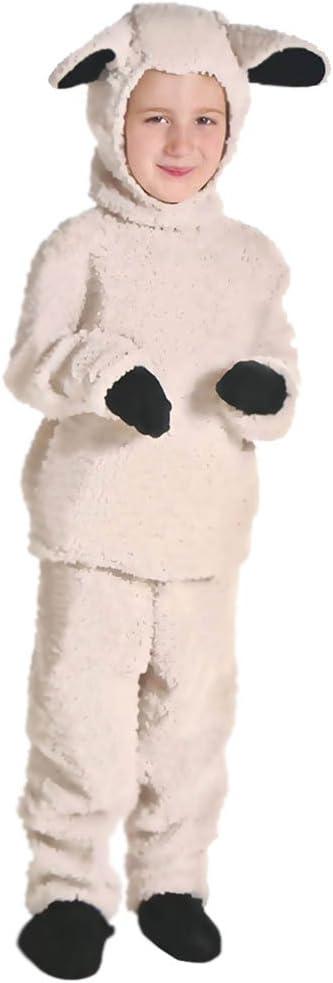 LPATTERN Disfraz Animal para Niños Unisex Disfraz Mono de Cosplay con Capucha para Carnaval Halloween, Oveja, 2XL/Altura Recomendada:140-150cm