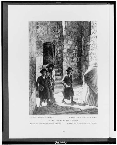 Photo: Jews,going to synagogue,walls,Jewish people,faith,spiritual life,Jerusalem,c1925 by Infinite Photographs
