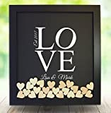 Personalised Wedding Guest Book Rustic Drop Top Box Wedding Alternative Signature GuestBook 30x35 CM with 120 Pcs Wooden Hearts