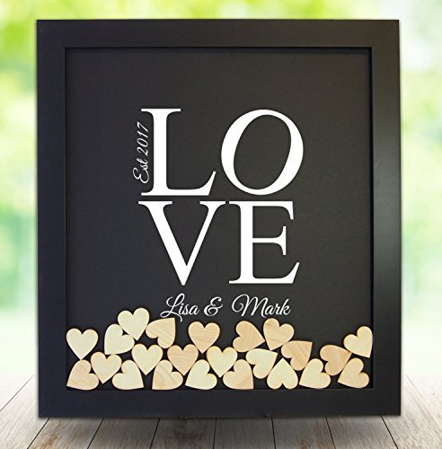(Personalised Wedding Guest Book Rustic Drop Top Box Wedding Alternative Signature GuestBook 30x35 CM with 120 Pcs Wooden Hearts)
