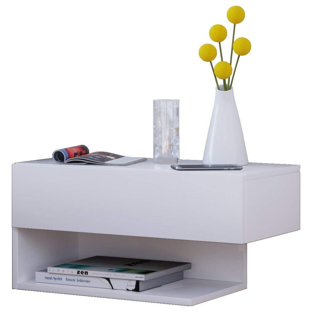 VCM Dormal Maxi Wand Nachttisch//Nachtschrank//Beistelltisch kommode Wei/ß 15 x 60 x 31.5 cm Holzdekor