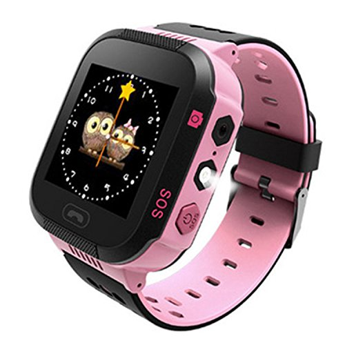 Kids Smartwatch GPS Tracker with Camera Phone Call Alarm Clock Remote Control Watch for Children Girls Boys (Pink)