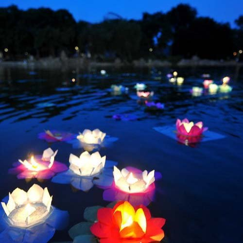 EWIN(R) 20PCS Chinese Paper Lotus Flower Floating Lanterns Birthday Wedding Party