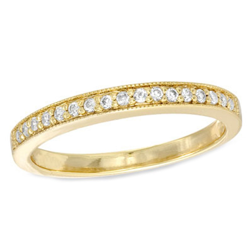 10k Yellow Gold .17ct tw Diamond Band with milgrain accent. ''stackable'' Size 5