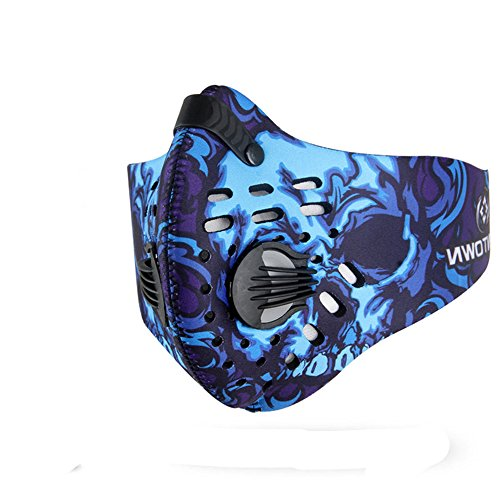 Cycling Bike Dustproof Mask- Half Face Activated Carbon Mask with Filter Neoprene (Blue)