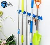 ALLZONE Self Adhesive Mop Broom Holder, Garden Garage Tool Organizer, 5 position 5 hooks, GUARANTEED NON SLIDE, Made by Aluminum
