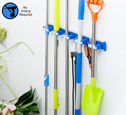 ALLZONE Self Adhesive Mop Broom Holder, Garden Garage Tool Organizer, 5 position 5 hooks, GUARANTEED NON SLIDE, Made by Aluminum