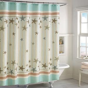 DS CURTAIN Tremiti Ocean Shower CurtainWaterproof Fabric CurtainSeashell Bathroom CurtainsMildew Resistant CurtainPrint Aqua