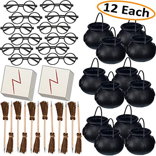 HeroFiber Wizard Party Favors for 12 - Includes Broom Pens, Cauldron, Glasses, and Lightning Scar Tattoos - Perfect for a Wizard School Theme Birthday Party (12 of Each) -
