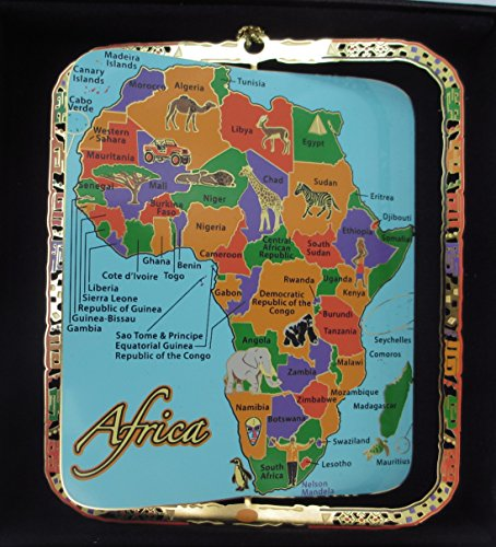 Africa Map Ornament Color Brass Black Leatherette Gift Box