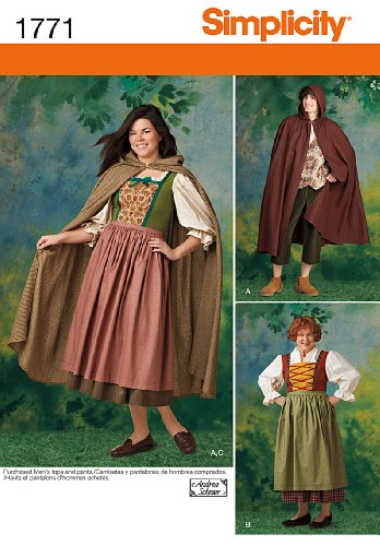 Simplicity 1771 Misses' and Men's Costume A (8-18 / XS -XL) -