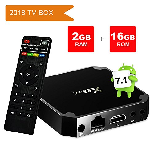Android TV Box 7.1.2, Smart X96 Mini 2GB Ram 16GB with Amlogic S905w Quad Core 2.4G Wifi 4K HD Support,IR Remote
