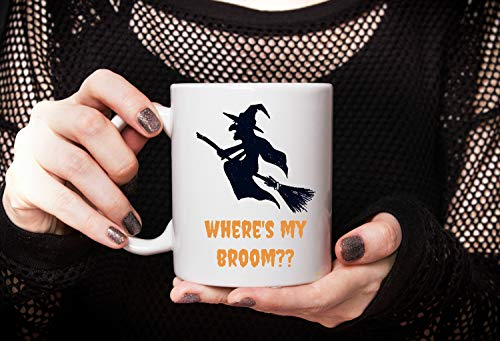 Funny Witch Mug Wheres My Broom Witch Joke Ceramic Coffee Cup Cute Halloween Mug for Work Coffee Mug