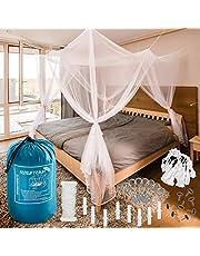 - Gran Moskitonetz FREILUFTRAUM para cama de matrimonio 200x200x 220 cm - Mückenschutz de alta calidad en el dormitorio o en el jardín, incluida gratuita y Tragebeutel Montageset