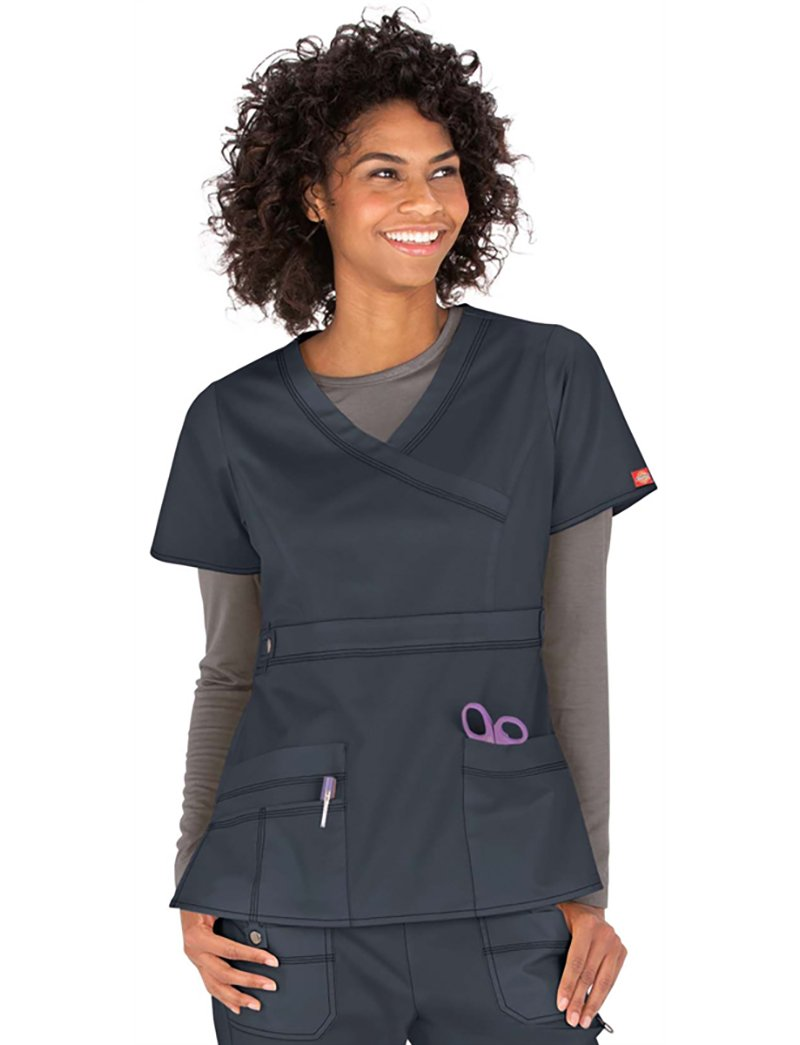 Dickies Gen Flex Women's Mock Wrap Solid Scrub Top X-Large Dark Pewter