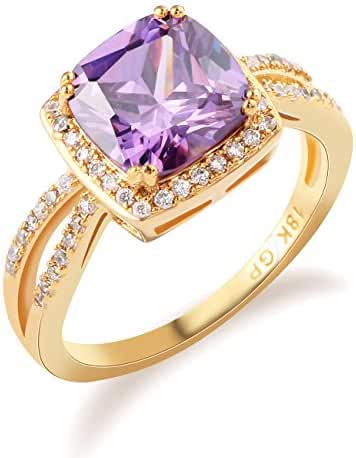 GULICX Vintage Style Gold Tone Ring with Purple Amethyst-color Stone Gold Tone Ring Size 7,8,9,10