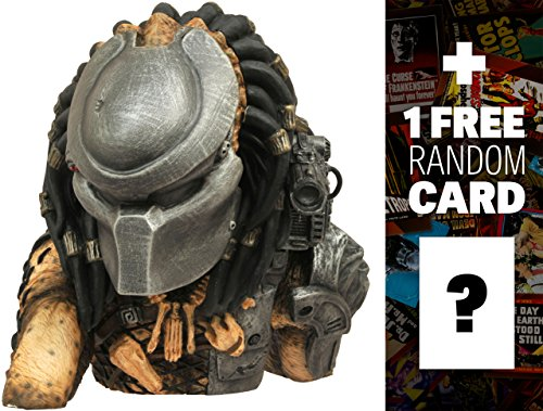 "Masked Predator: ~8"" Predator x Diamond Select Figural Bust Bank + 1 FREE Classic Sci-fi & Horror Movies Trading Card Bundle (81314)"