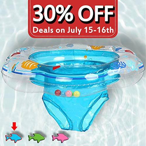 Baby Swimming Ring Floats with Safety Seat Double Airbag Swim Rings for Babies Kids Swimming Float Baby Floats for Pool Swim Training Aid Kids PVC Pool Floats for Toddlers of 6-24 Months - Blue