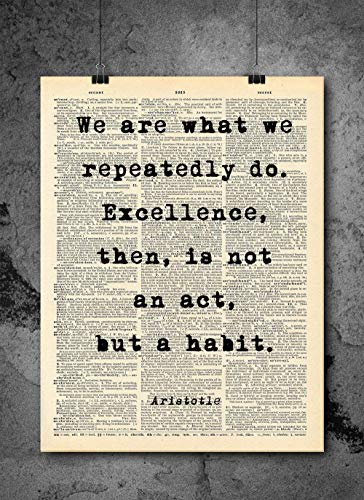 Act Framed Print - Aristotle - Excellence Is A Habit Quote - Dictionary Art Print - Vintage Dictionary Print 8x10 inch Home Vintage Art Wall Art for Home Wall For Living Room Bedroom Office Ready-to-Frame