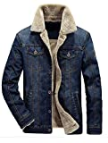 Vogstyle Men's Winter Distressed Denim Trucker Jacket Slim Fit Casual Pockets Button Down Jacket style 1 dark blue L