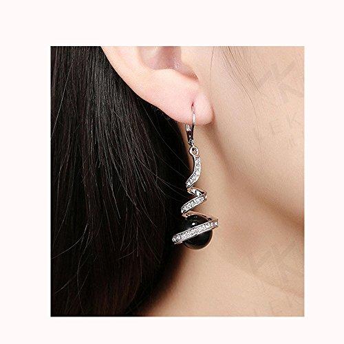 (Becoler Pearl Spiral Design Zircon Hoop Drop Earrings Jewelry)